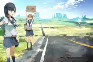 anime girls school uniform original characters