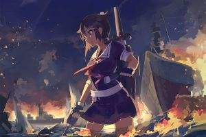 anime girls ship fire kantai collection anime