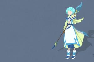 anime girls vector blue background gate: jieitai kanochi nite kaku tatakaeri simple background lelei la lelena weapon anime