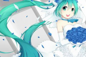 anime girls wedding dress twintails hatsune miku flowers vocaloid