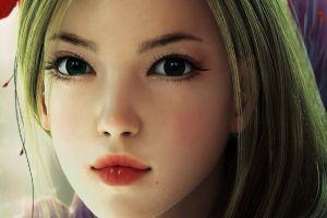anime green hair anime girls fantasy art dark eyes face