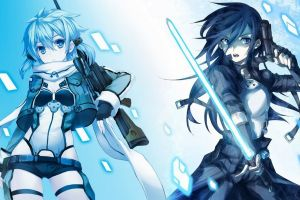 anime gun sniper rifle anime girls kirigaya kazuto simple background asada shino sword art online lightsaber