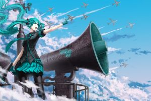 anime hatsune miku vocaloid cyan anime girls turquoise airplane clouds tie long hair skirt twintails