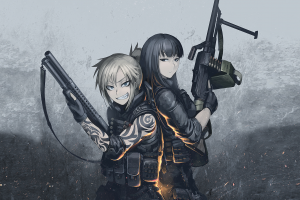 anime hetza warrior hellshock anime girls fantasy art machine gun