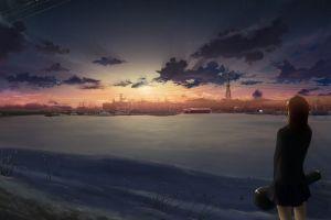 anime outdoors sunlight winter sky anime girls