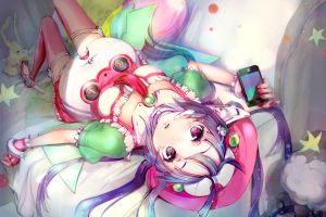 anime purple eyes jewelry thigh-highs vocaloid anime girls twintails long hair