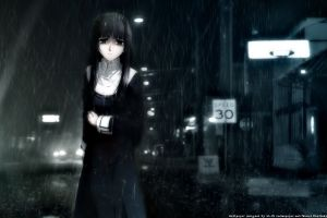 anime sad dark hair kara no kyoukai rain anime girls