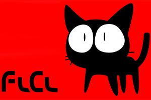 anime simple background cats flcl red background