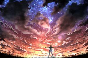 anime stars anime girls clouds sky sunlight