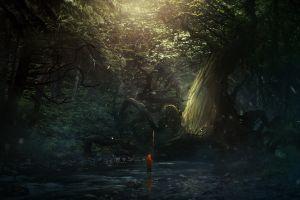 anime trees rock river nature
