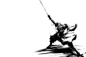 anime warrior monochrome simple background white background