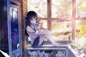 anime window sill japan bedroom original characters skirt anime girls ass sitting