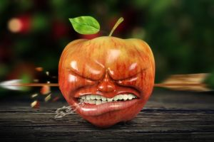 apples digital art depth of field wooden surface teeth arrows cgi closed eyes shot leaves