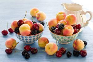 apricots fruit cherries blackberry food