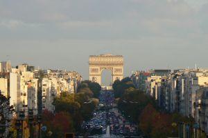 arc de triomphe clouds trees france paris