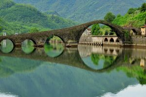 arch bridge bridge river italy old bridge nature