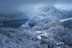 architecture daylight forest winter snow castle nature lake morning cold building clouds landscape mountains village