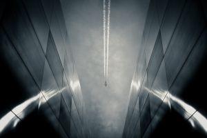 architecture landscape building tracks airplane urban monochrome reflection