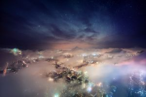 architecture skyscraper starry night nature mist cityscape new york city lights nebula landscape