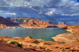 arizona lake powell nature colorado river landscape lake canyon