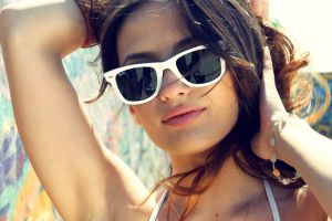 armpits sunglasses piercing brunette bracelets face juicy lips