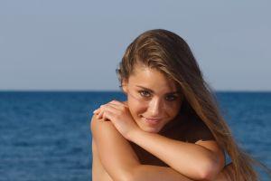 arms crossed face lily c raisa women brunette model water