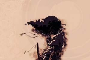 artwork afro samurai smoking afro sword beige