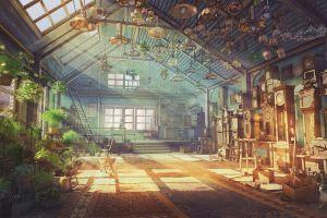 artwork anime building plants