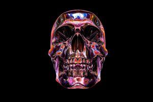 artwork black background skull pink
