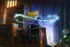 artwork blonde fantasy art magic fantasy girl library