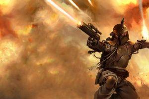 artwork boba fett star wars star wars villains blaster