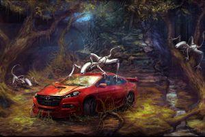 artwork car forest