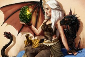 artwork daenerys targaryen game of thrones fantasy art dragon