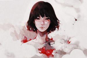 artwork dark hair face simple background fantasy art anime girls portrait