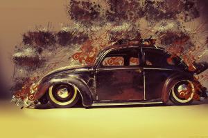 artwork digital art volkswagen old car paint splatter painting volkswagen beetle wheels lines classic car car