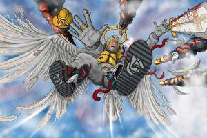 artwork drawing wings men