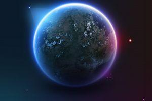 artwork earth planet satellite space art stars digital art