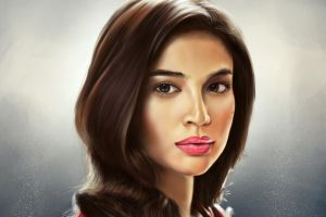 artwork face simple background brunette women