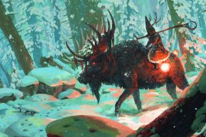 artwork fantasy art signatures snow wizard deer horns creature forest animals