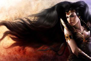artwork fantasy girl dark hair fantasy art long hair necklace