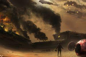 artwork fire sky digital art ship apocalyptic burning futuristic shipwreck