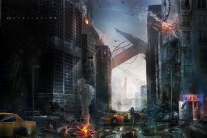 artwork futuristic apocalyptic war