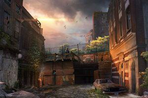 artwork futuristic digital art sky apocalyptic ruin