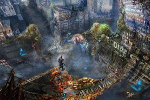 artwork futuristic ruin futuristic city