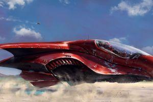 artwork futuristic science fiction vehicle red render digital art