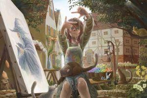 artwork gandalf fantasy art cats