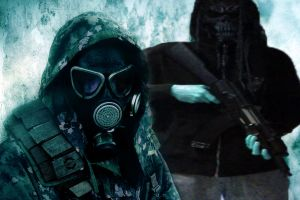 artwork gas masks weapon