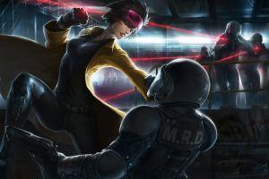 artwork gun police boobs fist futuristic women dark hair weapon