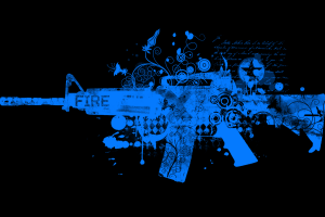 artwork gun weapon blue simple background