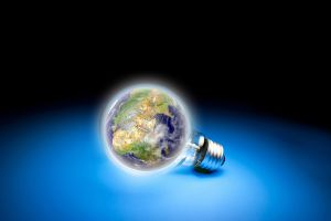 artwork lightbulb earth